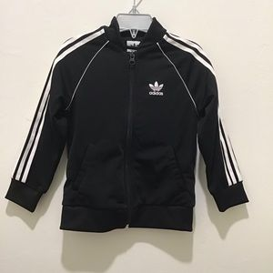 Adidas toddler track jacket, black and white